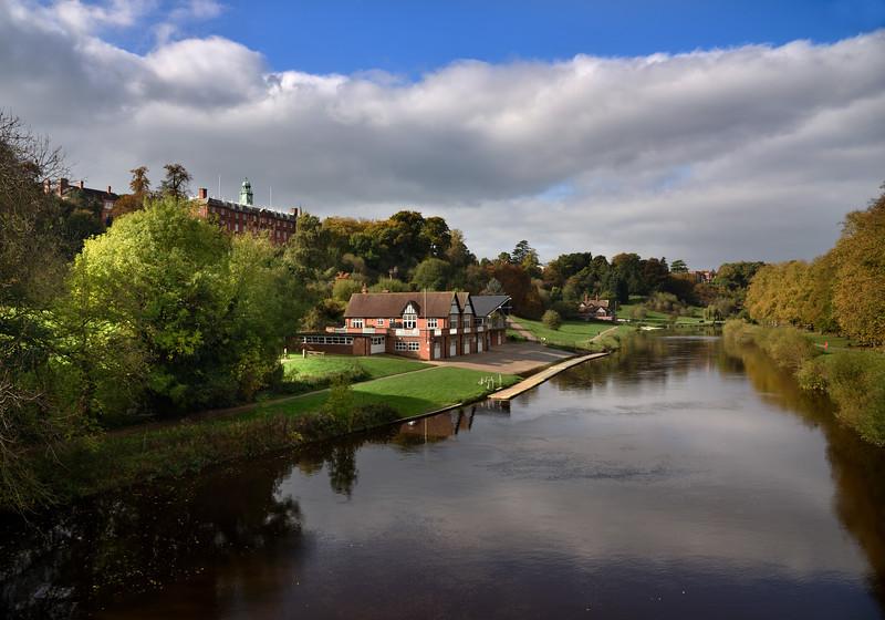The River Severn, Shrewsbury School and boathouse.