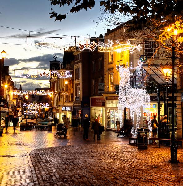 Christmas lights on Pride Hill, Shrewsbury.