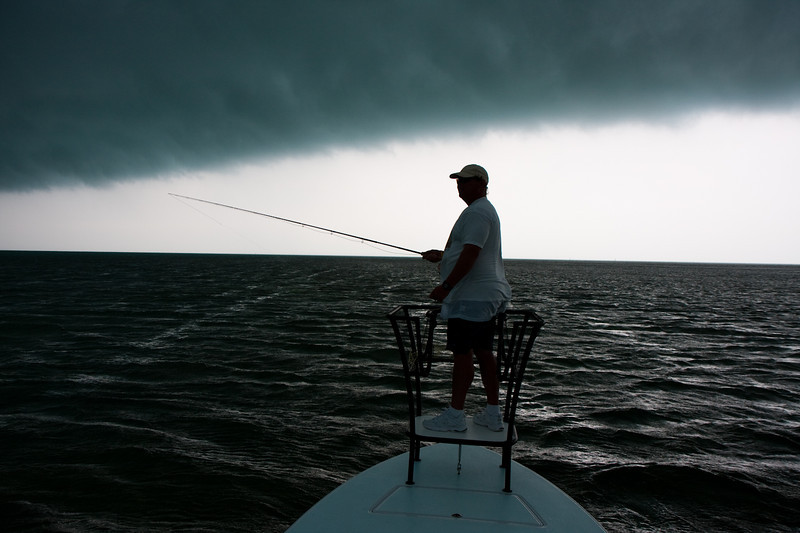 We got to the spot and set up so we could have tarpon coming at us from down-sun.  But then we got clobbered by an unforcasted storm front.