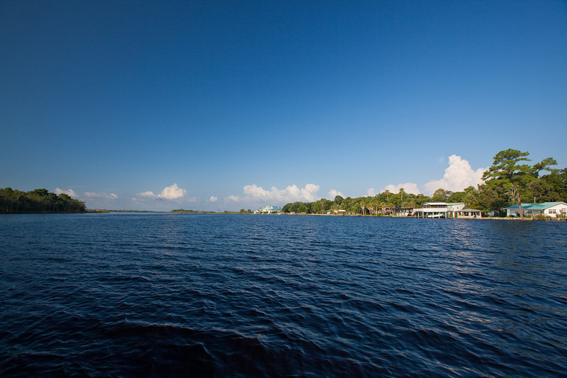 The town of Suwannee Florida, situated at the mouth of the Suwannee River.