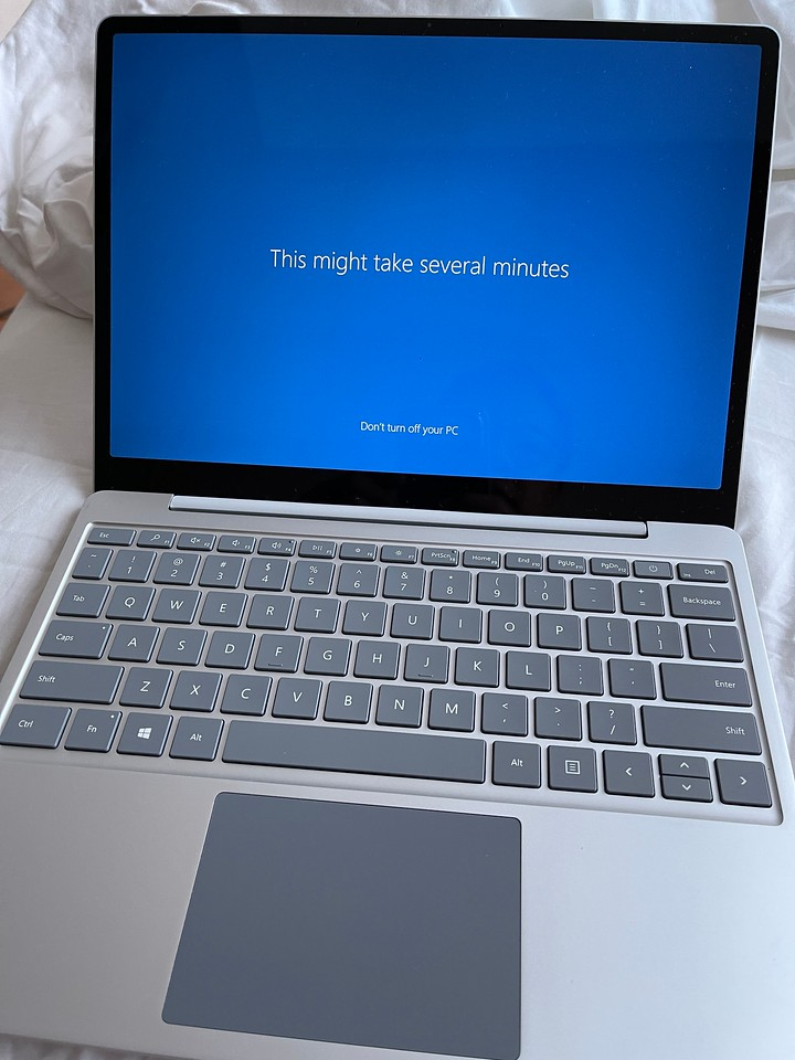 Microsoft Surface Laptop Go Booting up for the first time