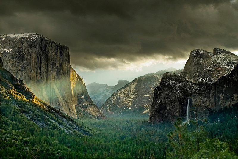 """First ray of light""<br /> <br /> A rare scene taken from the famous tunnel view in Yosemite nation park."