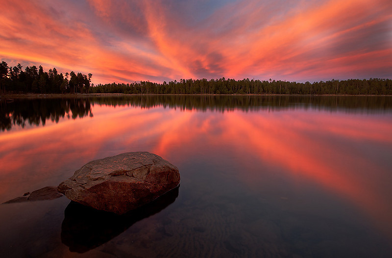 """""""Blazing sunset""""<br /> <br /> An unexpected blazing sunset at Willow springs lake, Payson."""