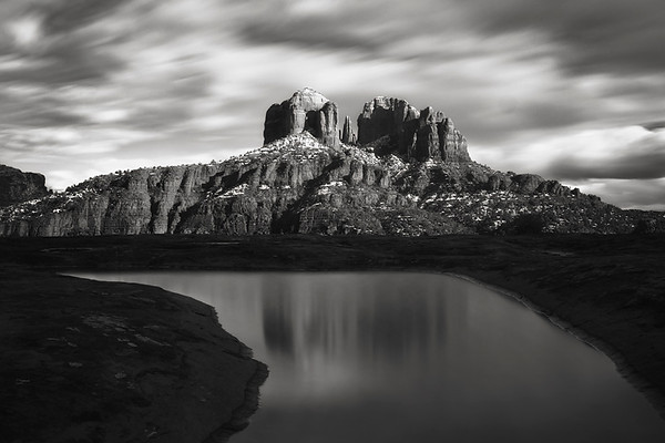 """Passing Storm""<br /> <br /> Fast moving winter storm clouds passing by Cathedral rock."