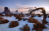 """Sandstone World""<br /> <br /> As the sun rose higher, I saw it peeking through this small hole on the tree. Monument Valley is beautiful with snow!"