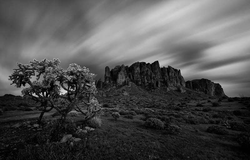 """Scary desert""<br /> <br /> A different take on an Arizona icon. The fast moving clouds added an interesting effect."