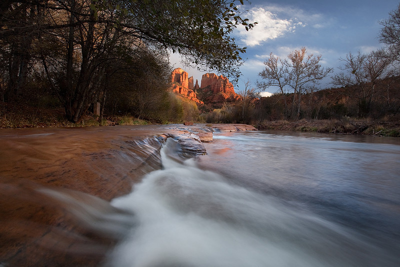"""Last light and motion""<br /> <br /> A break in the clouds during a storm, gave this unique light in Sedona."