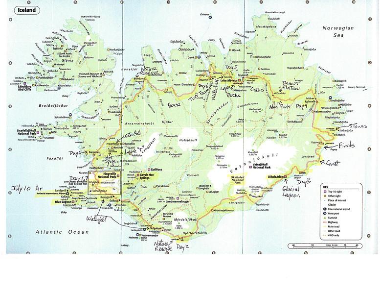 Map of Iceland - start in Reykjavik in SW