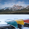 Canoes at Pryamid Lake, Jasper