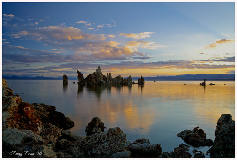 One of the oldest lakes in the western hemisphere, Mono Lake is hauntingly beautiful. The lake's most distincive features is its eerie tufa towers. These are mineral structures created when fresh-water springs bubble up through the lakes' alkaline waters. This is the maintain tufa located in the Southern side of the lake. Captured at sunrise on a calm weather with some high clouds.