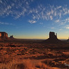Early mid morning view to the Monument Valley after sunrise