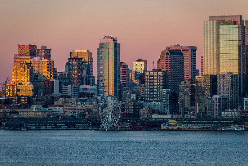 Seattle In Morning Winter Lights