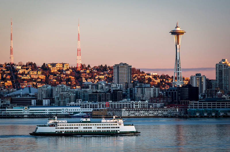 Space Needle and Elliot bay, Seattle.WA
