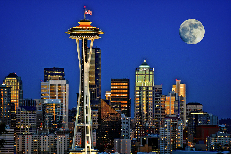 Super Moon Over Seattle