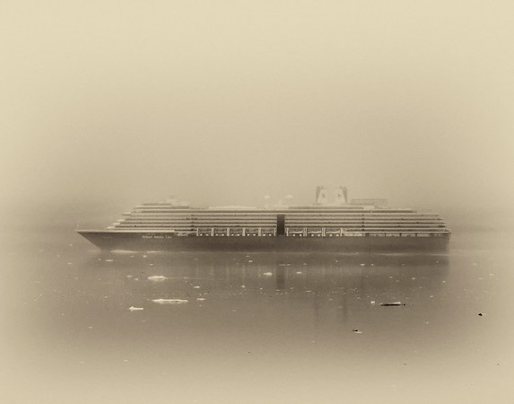 Cruise Ship in Fog Glacier Bay AK