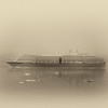 Cruise Ship in Fog Glacier Bay AK
