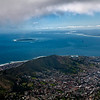 View from Table Mountain of Capetown and Robin Island, South Africa