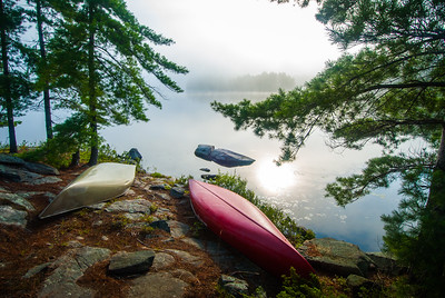 Canoes in the mist, Smoky Lake, Noganosh Lake Provincial Park