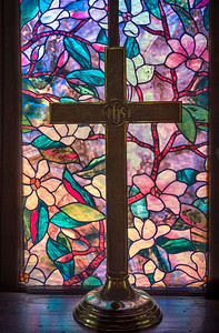 Painted Glass and Cross