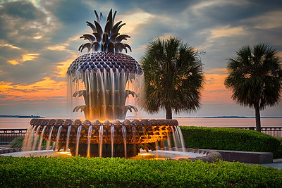 Pineapple Fountain at Sunrise