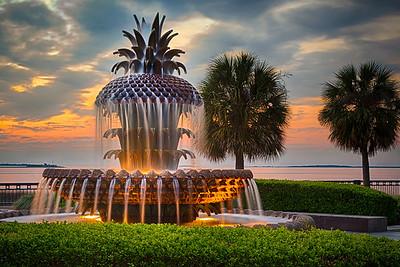 Pineapple Fountain at Sunrise