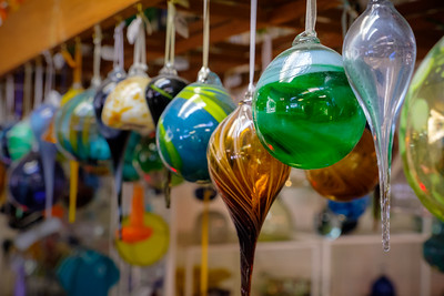 Glass ornaments in the gift shop.