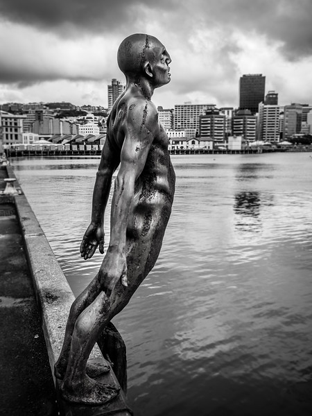 Calm after the storm - Max Patte's sculpture 'Solace of the Wind' on Wellington harbour a few days after Cyclone Gita hit New Zealand