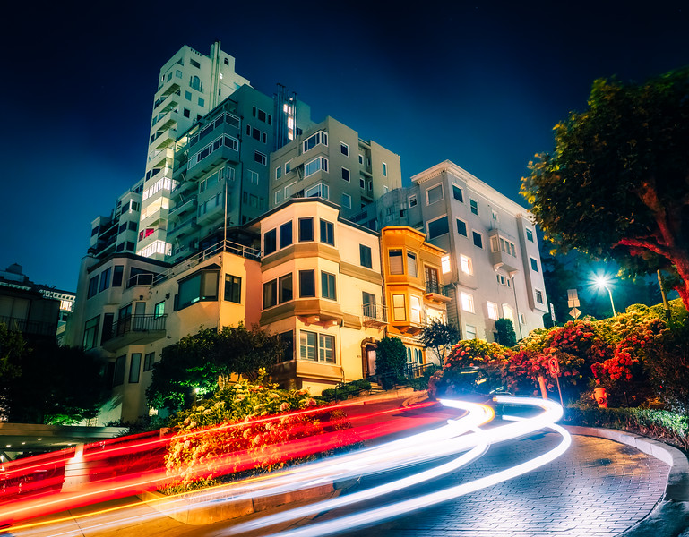 Lombard lights - had a great time catching the light trails down the hairpin turns of Lombard Street this week and got to meet a few other photographers at this spot!