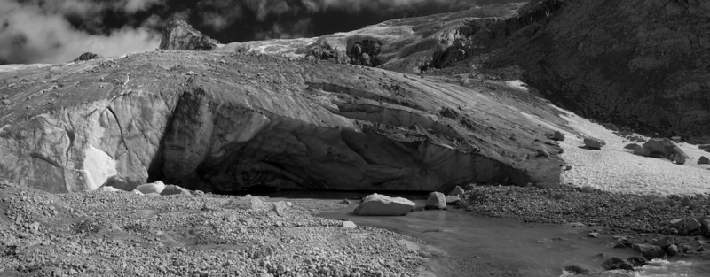 Cave at toe of the Dartmouth Glacier