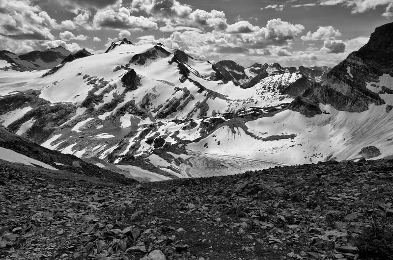 Thunderwater and Gemini Lakes from Gemini Peak