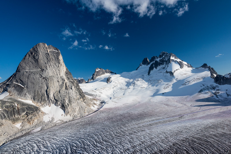 Looking across the Vowell Glacier towards the Bugaboo Spire and the Howser Towers