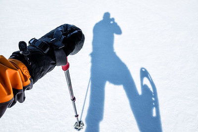 A self portrait taken by a senior male out on a long solo snowshoe adventure