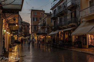 Evening draws in on Corfu Town