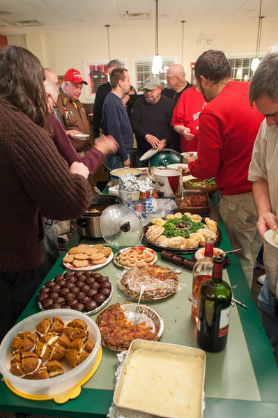 Organized disarray around the food table. As usual, the food selection was excellent.