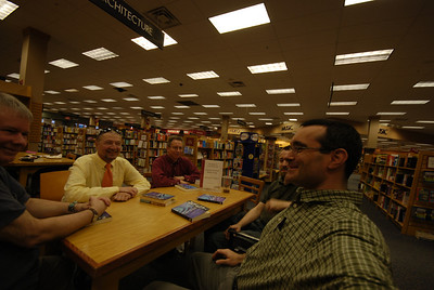 We met at Borders in Concord from 2000 through most of 2008. At first, they gave us 30% off the book club selection, plus a free drink at the cafe, plus this nice table. Slowly over the years the benefits dried up. We finally got the hint when the table was pulled. Now we meet at the home of a member each month.