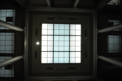 Here I'm looking up at the ceiling from the center of the museum. Only the emergency lights are on now and soon we'll be asked to return to the front of the museum. We lingered for a while and then left when it appeared that the power might be out for a while.