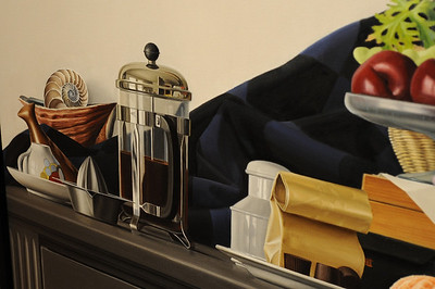 This is a crop detail of one of the more realistic paintings. I think the reflection in the coffee maker is astonishing. Computers can render scenes like this but only after immense amounts of computing power are invested.