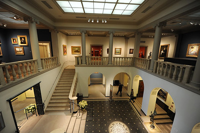 The still-empty museum, with the lights still on.