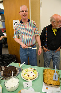 Ron wishes I had photographed his lime cheesecake before he sliced into it. My entry is the rhubarb crisp at right.