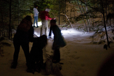 Some of the hikers had not snowshoed before, so they were stepping on each other's feet.