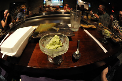 Green tea ice cream, just like they serve in Japan. Subtle, not too sweet, with a little green tea bitterness on the back end. I really like this.