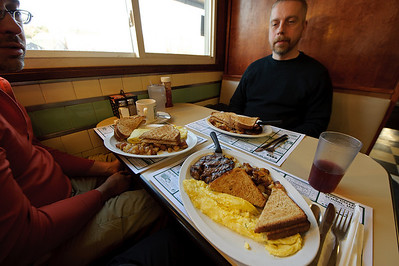 Always start with a hearty breakfast. Here Jack, Peter, and I are at the Peterborough Diner. That steak was vastly overcooked, unfortunately. Protein is protein, right?