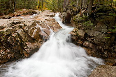 These falls are near the Basin, one of the scenic stops along the Franconia Notch Parkway.