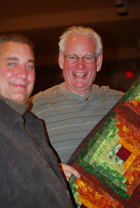 Ray and Chris won the quilt raffle. Chris (right) is a former member of the chorus.