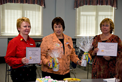 Bobbi (center) gives well-deserved recognition to Margie and Carol for their work on the council.