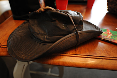 Gordon always leaves his hat behind when he visits my house.