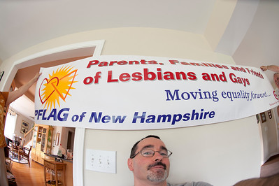 PFLAG's new banner, just in time for Boston Pride. The banner was designed by our newest council member, Michael.