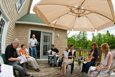 Although it was a stormy and rainy weekend over much of NH, the early afternoon was pleasant, so we had the first half of our meeting outside.