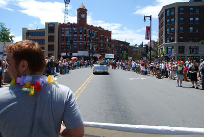 "This was my photo of the day for June 21. An ""inside-the-parade"" perspective of a small city with big Pride."
