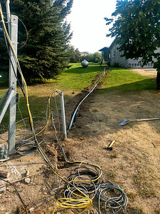Trenching coax & control cable to the tower